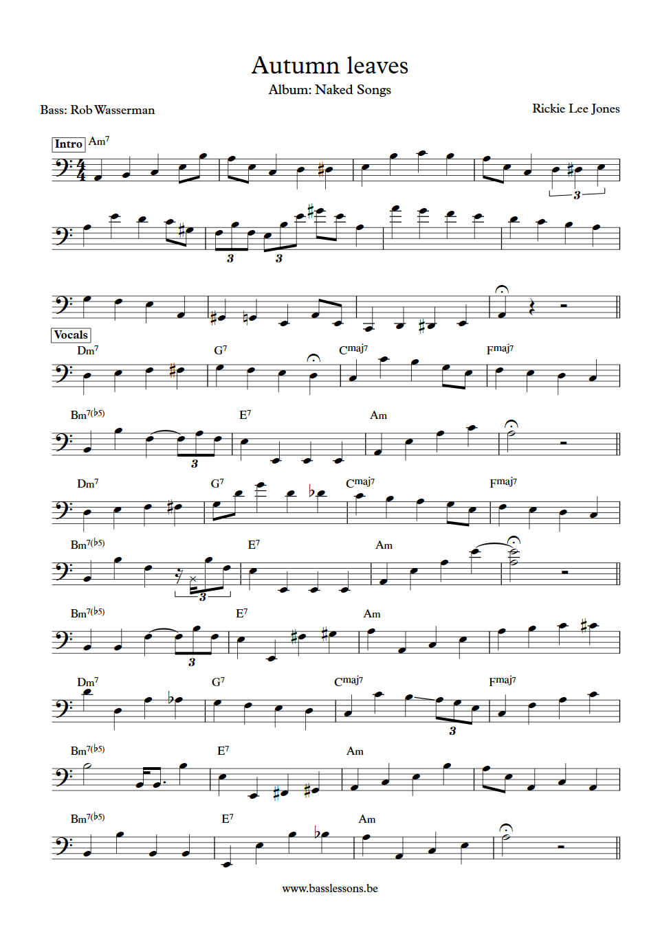 autumn leaves bass line pdf