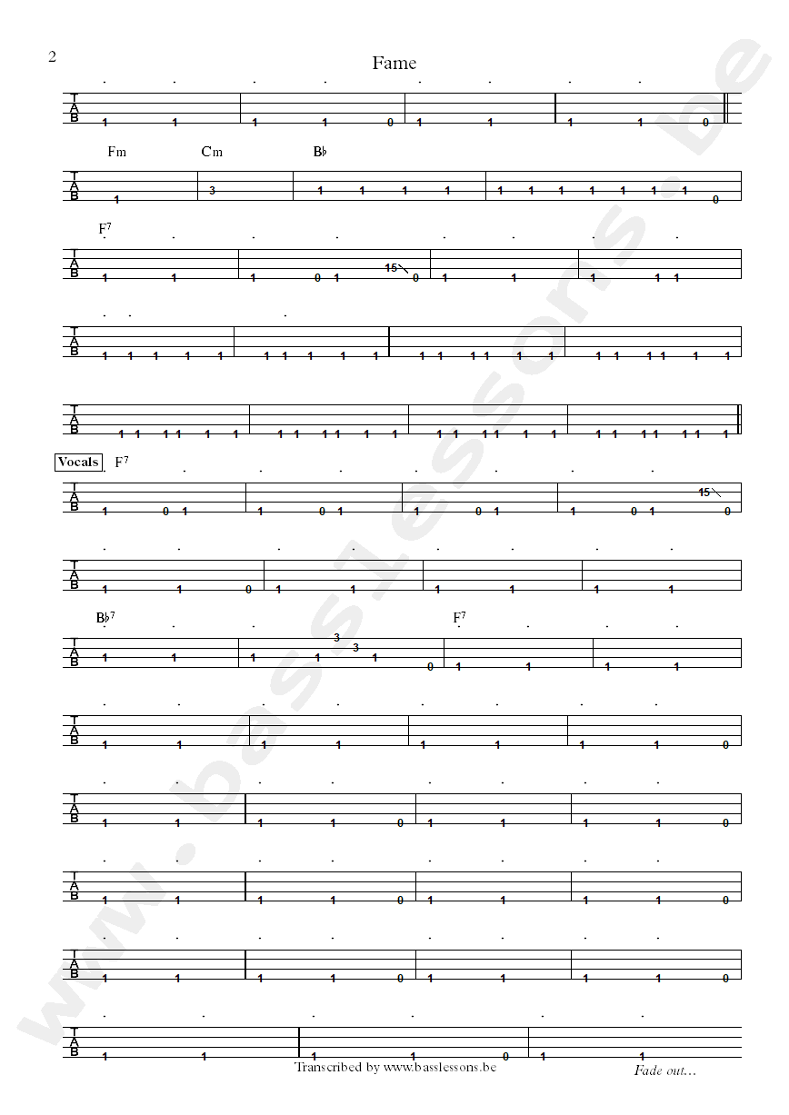 David Bowie fame bass tab part 2