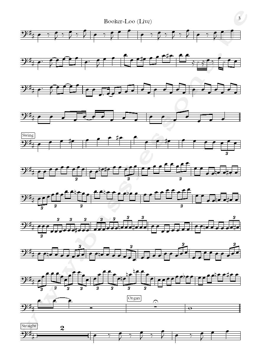 Booker T Booker Loo Donald Duck Dunn bass transcription part 3