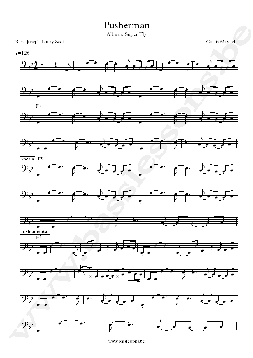 Curtis Mayfield - Pusherman bass transcription