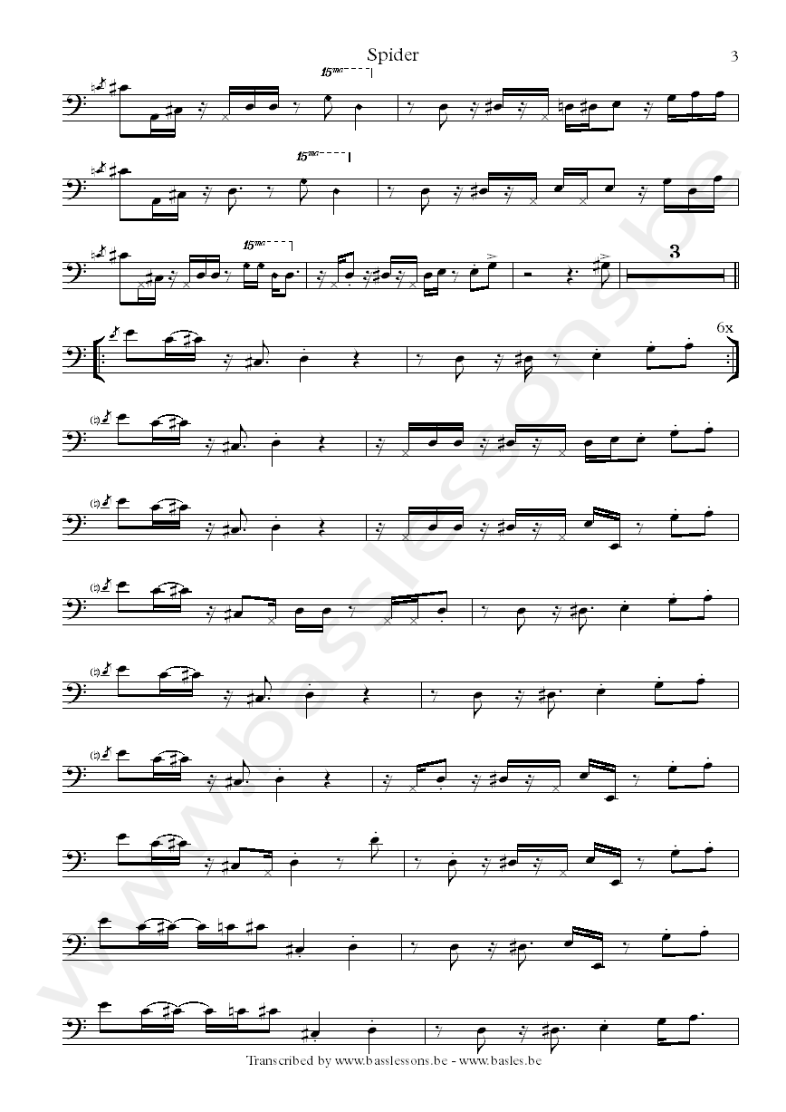 Paul Jackson bass transcription
