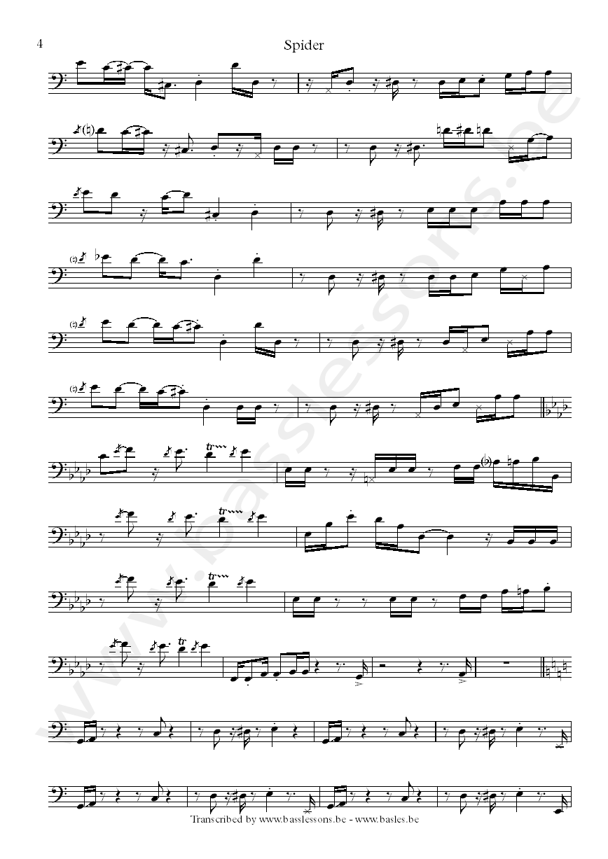 Spider bass transcription