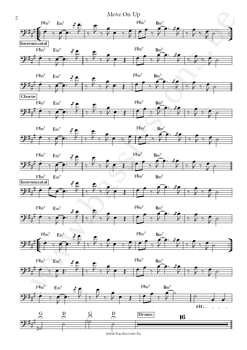 Curtis Mayfield Move on Up bass transcription