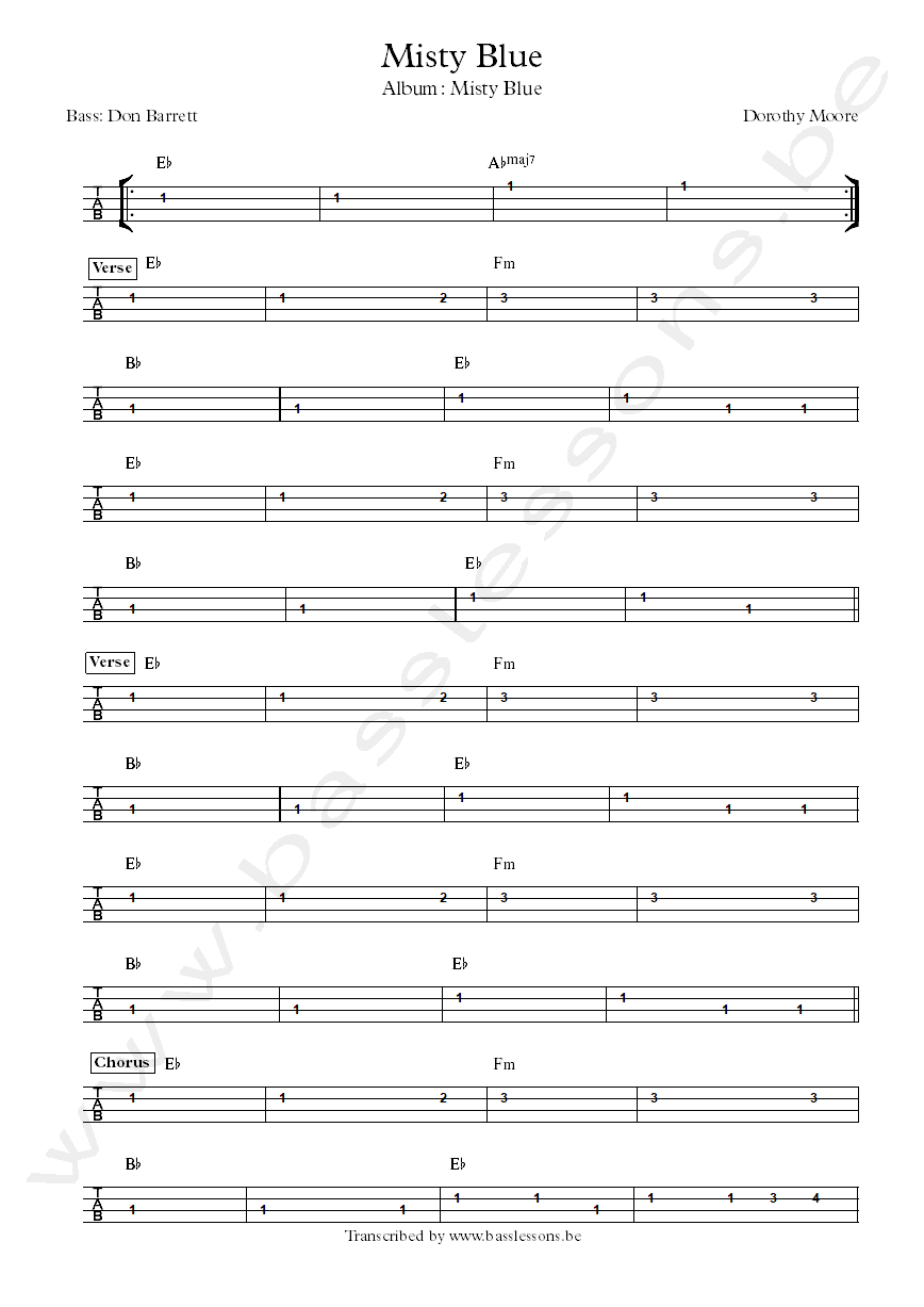 Misty Blue Bass tab and chords