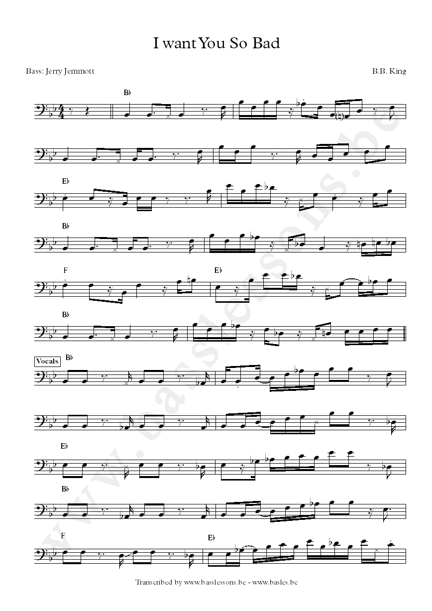 I want you so bad bass transcription