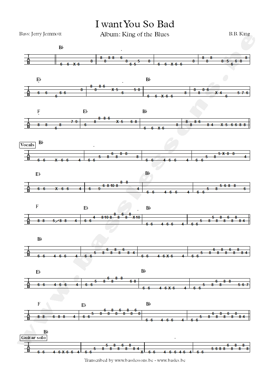 B.B. King I want you so bad bass tab