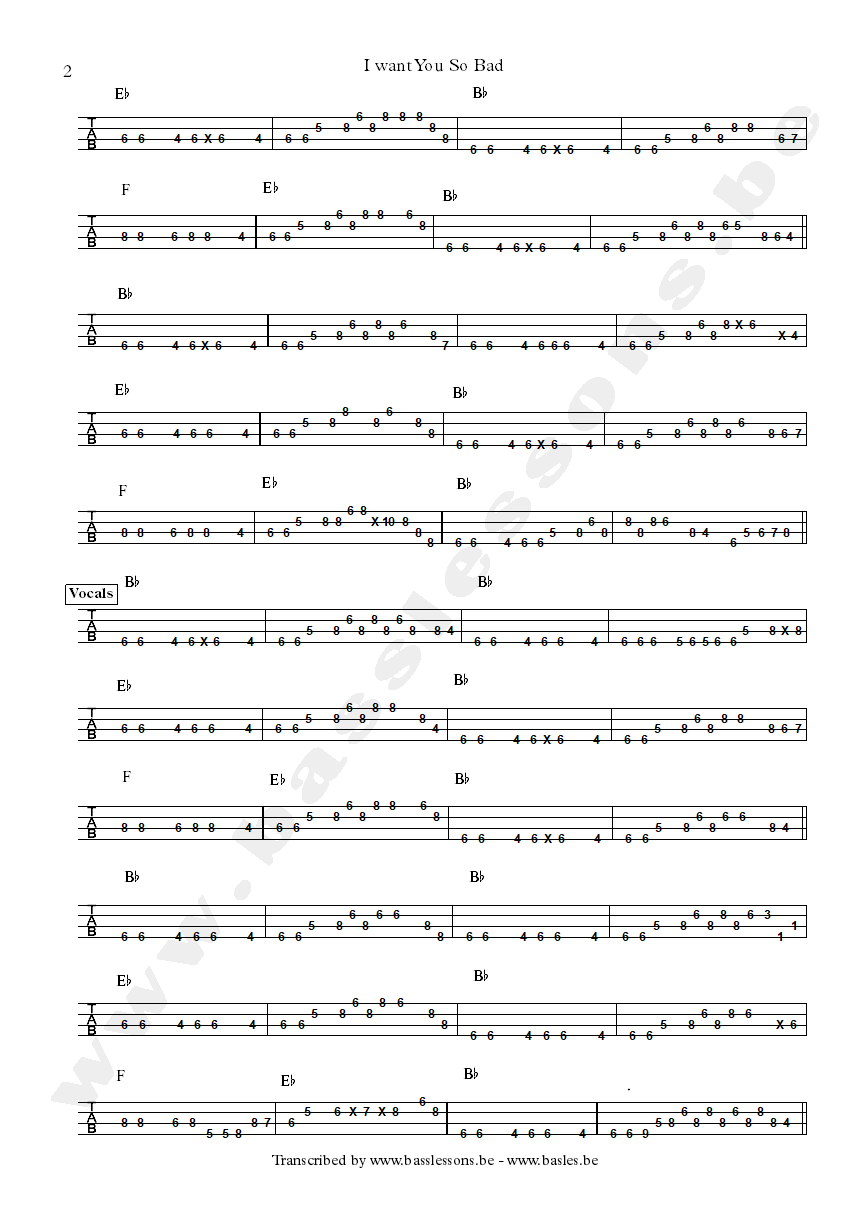 B.B. King I want you so bad bass tab part 2