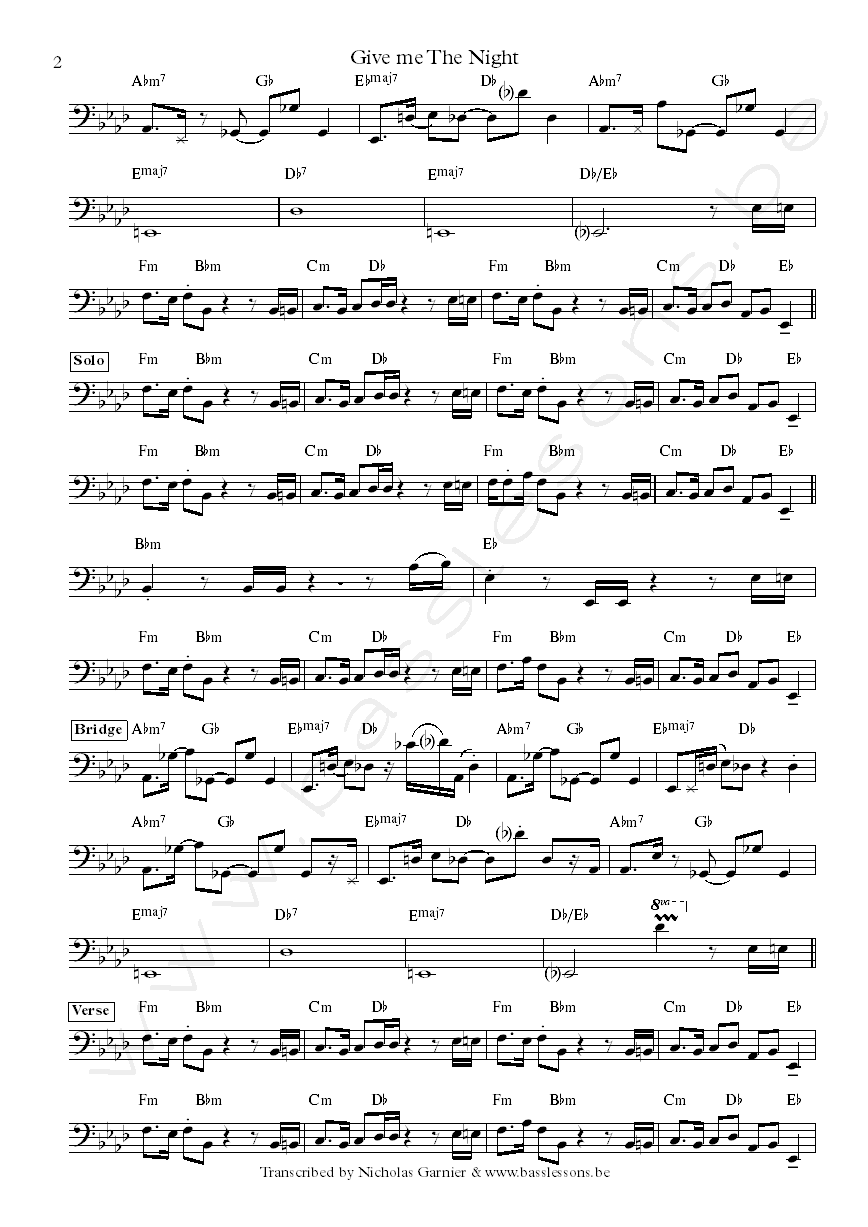 Bass Transcription of Give me the night by George Benson, with Abraham Laboriel on bass part2