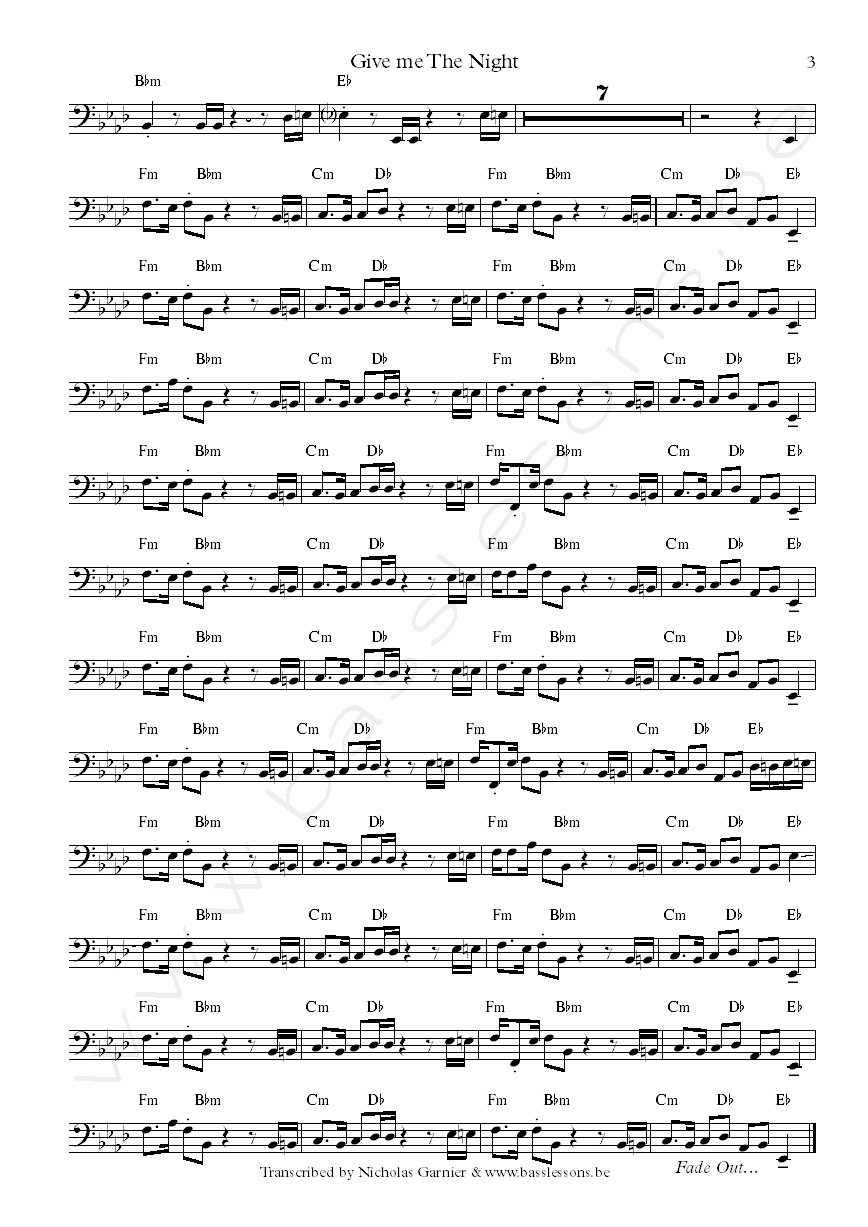 Abe Laboriel bass transcription