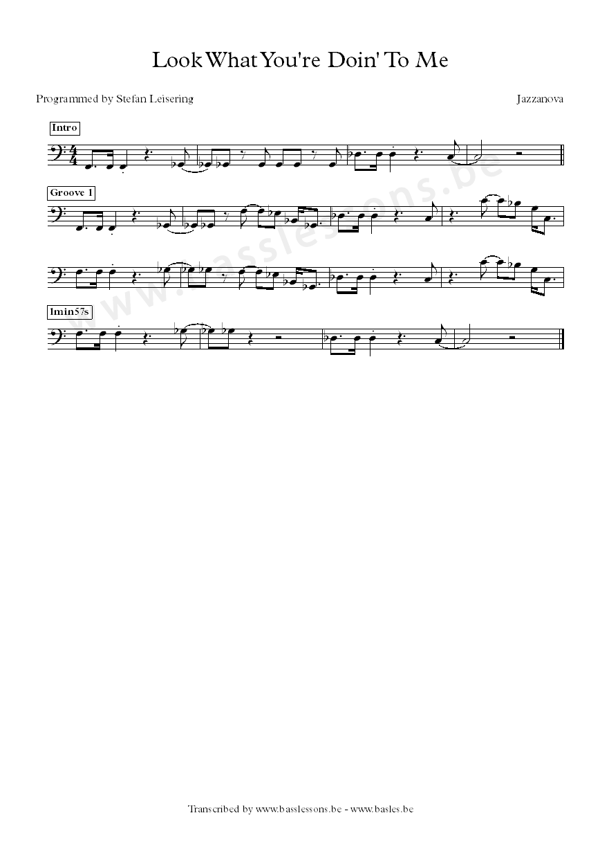Jazzanova - Look what you're doing to me bass transcription