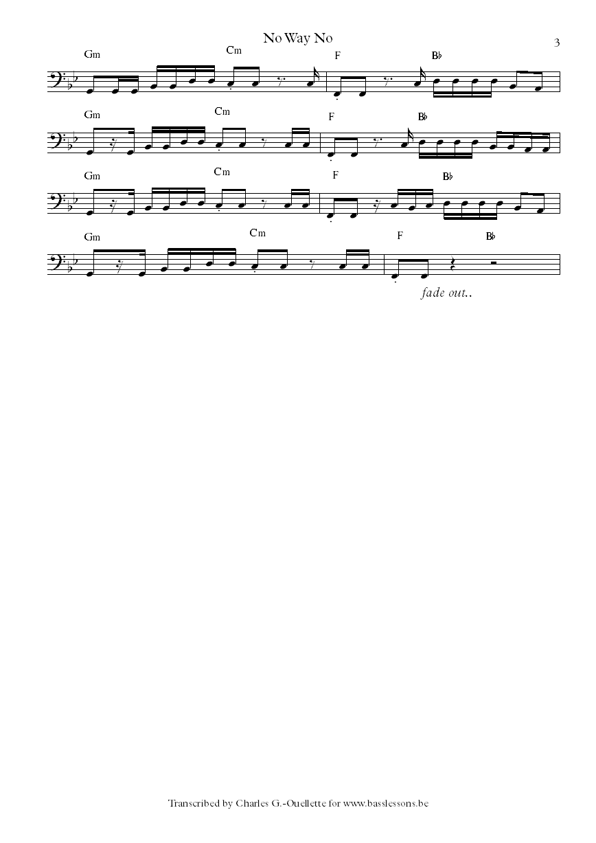 No way no by Magic! bass sheet music