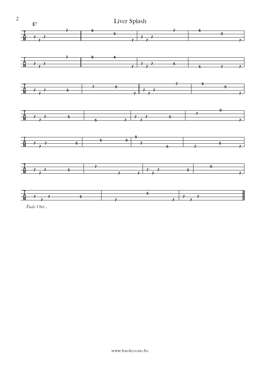 The Meters Liver Splash bass tablature