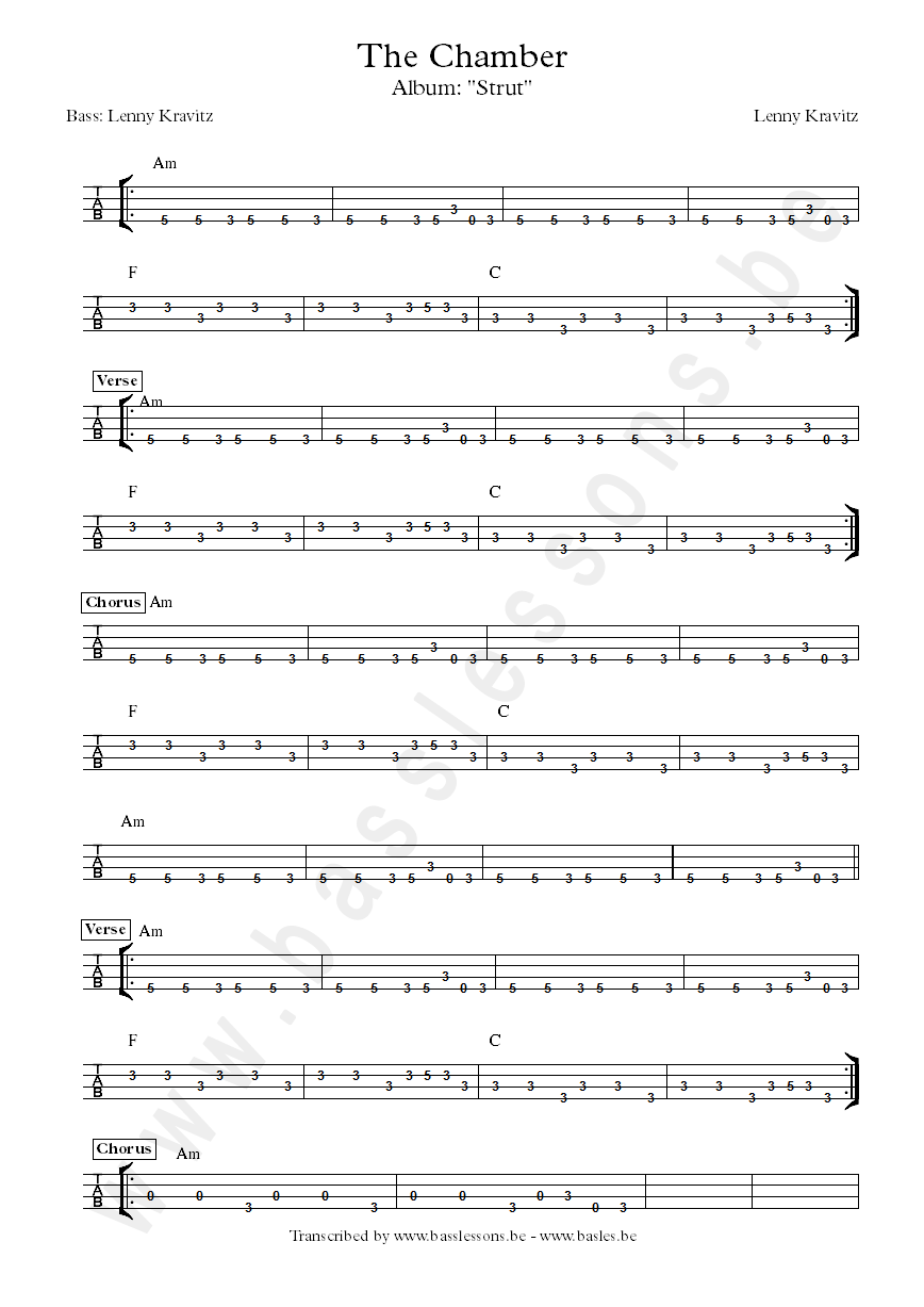 Lenny Kravitz the chamber bass tabs
