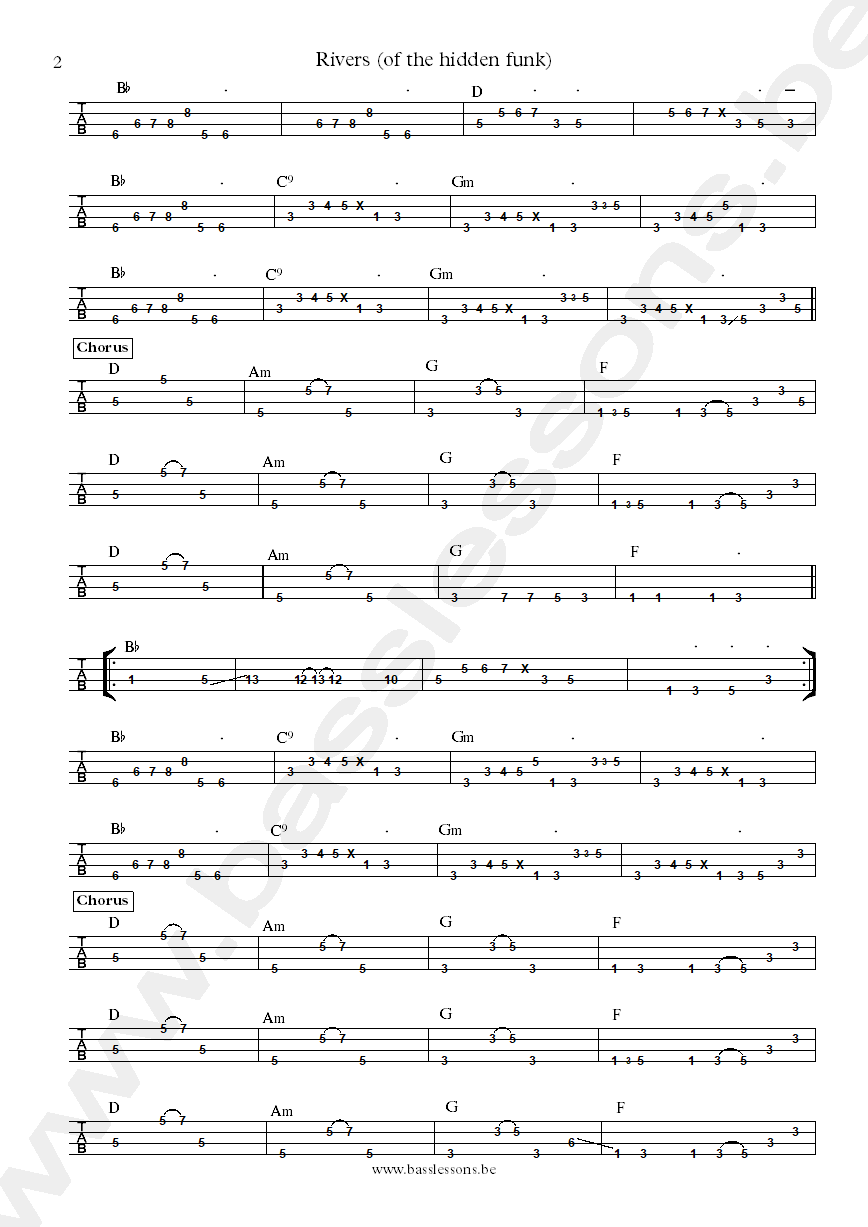 Joe walsh rivers bass tabs part 2