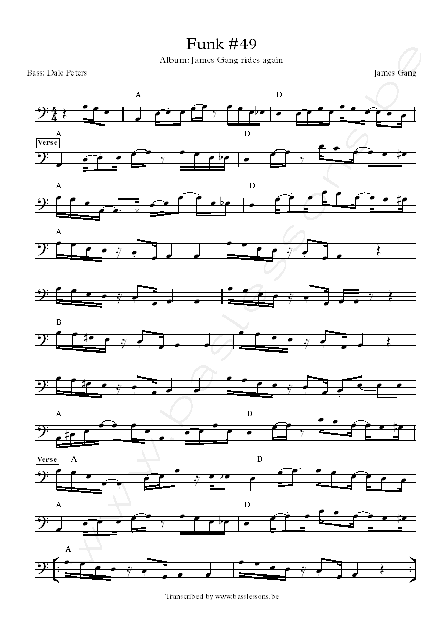 James Gang Funk 49 bass transcription Dale Peters