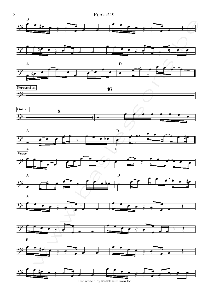 James Gang Funk 49 bass transcription Dale Peters part 2