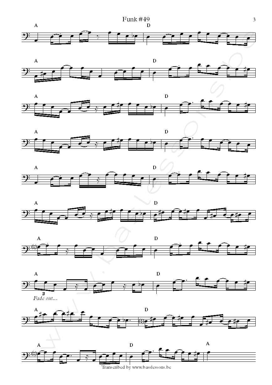 James Gang Funk 49 bass transcription Dale Peters part 3