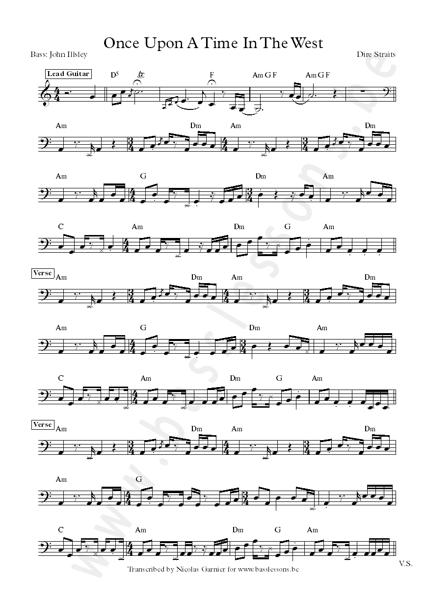 Dire Straits bass transcription 1