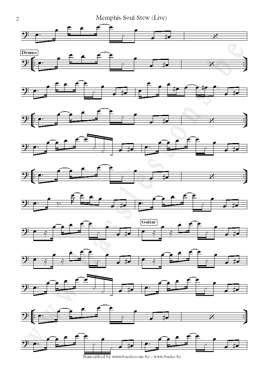 Memphis soul stew sheet music