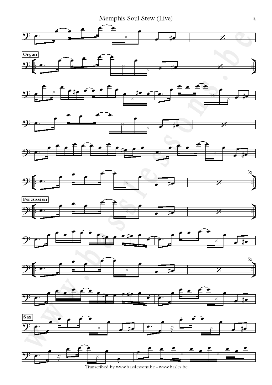 Jerry jemmott bass transcription