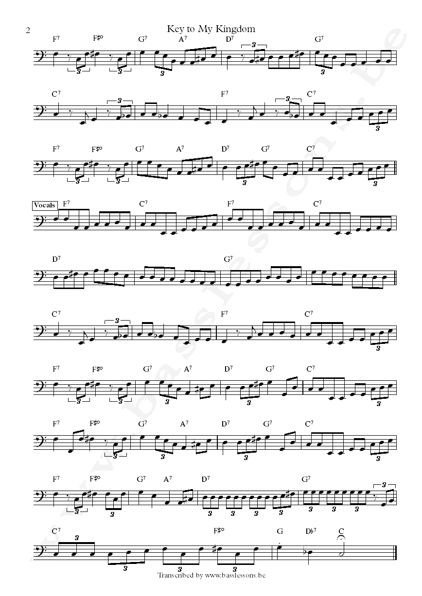 BB king key to my kingdom jerry jemmott bass transcription part 2