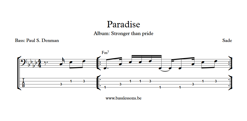 Sade Paradise Paul denman bass transcription
