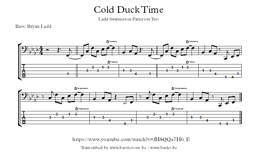 Ladd Swinnerton Patterson Trio Cold Duck Time bass transcription