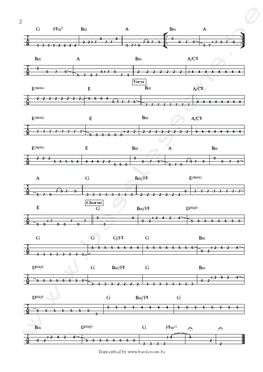 Sarah McLachlan bass tab possession part 2