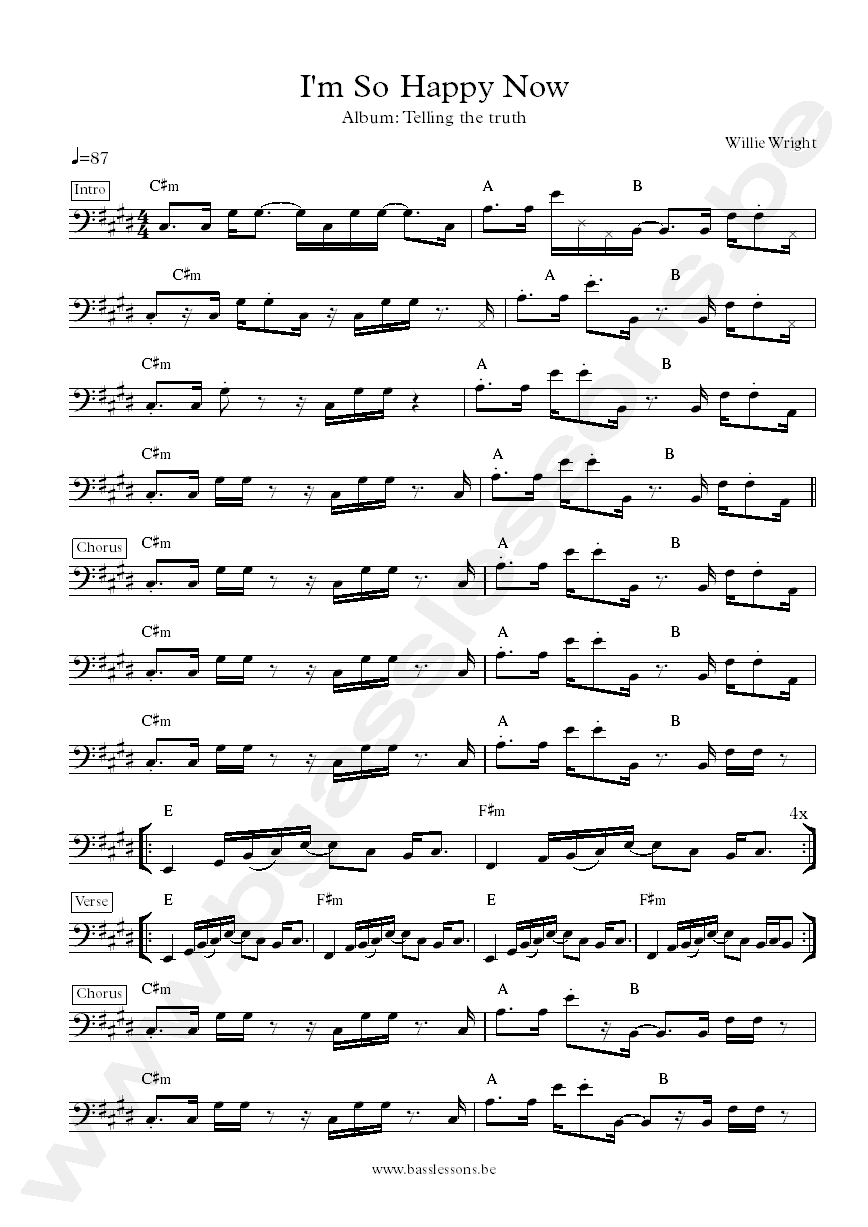 Willie wright im so happy now bass transcription