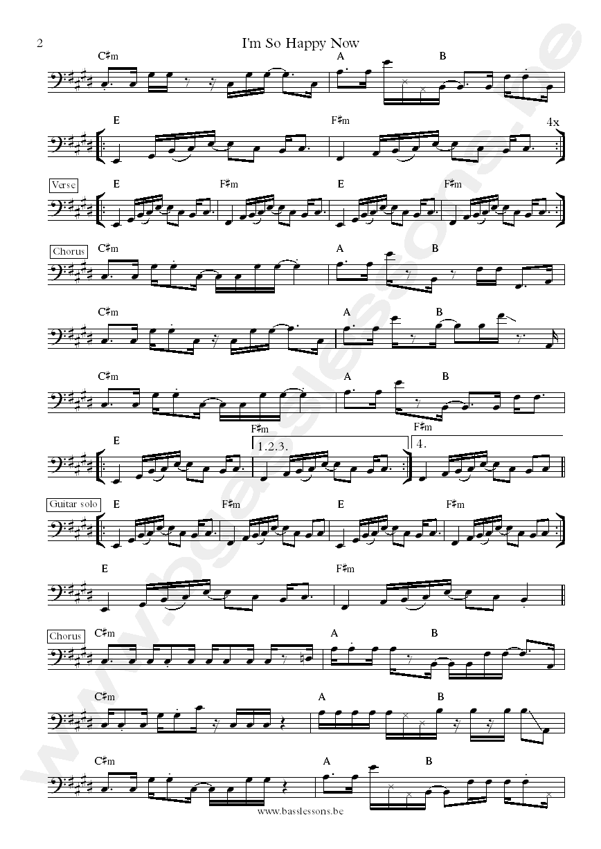 Im so happy now bass transcription