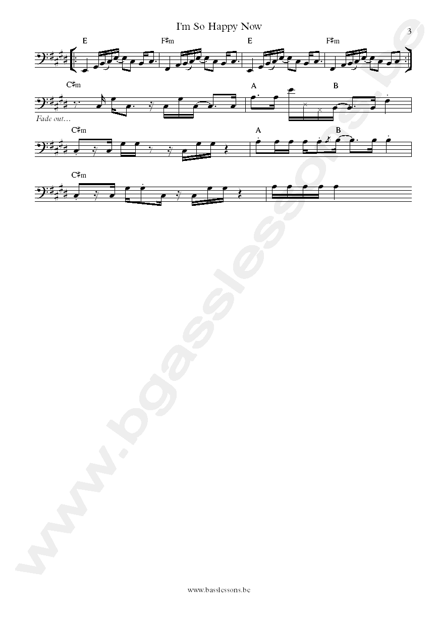 Willie wright im so happy now bass transcription part 3