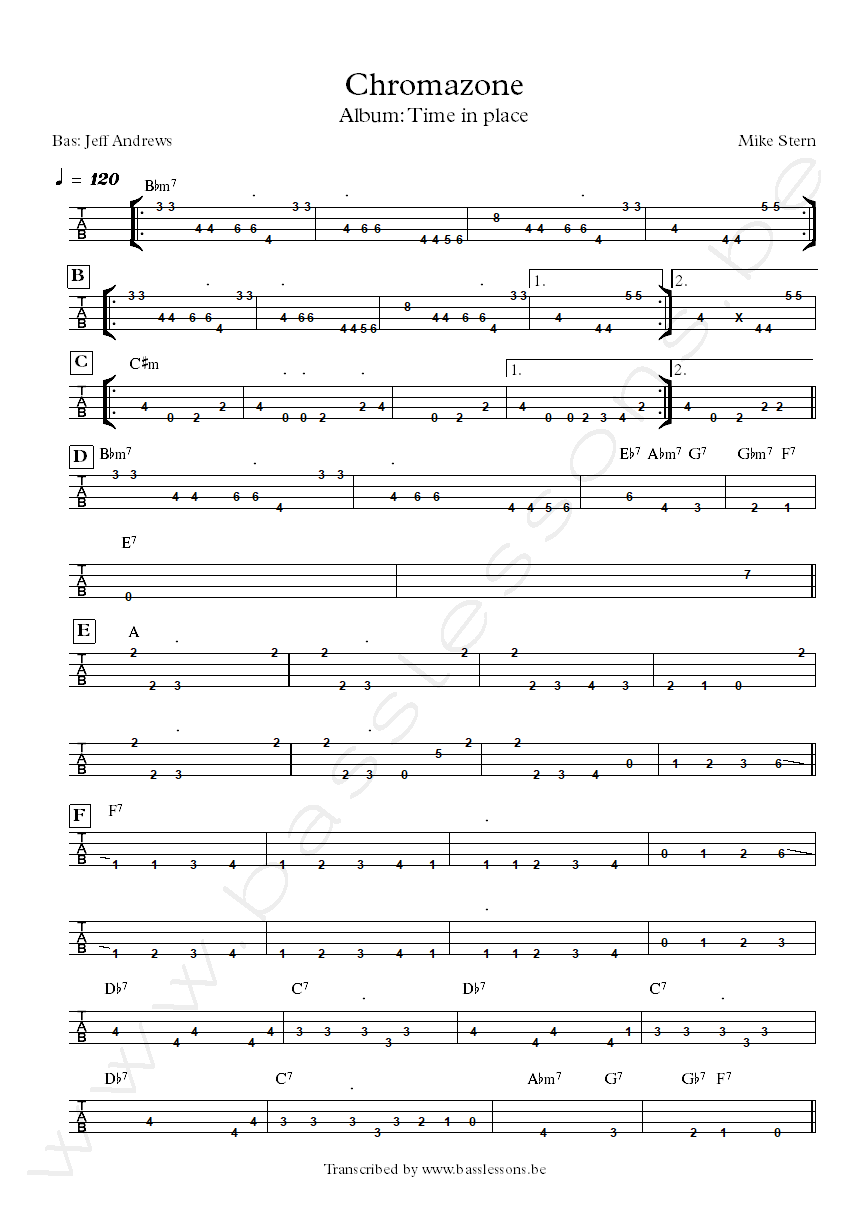 Mike Stern chromazone bass tab