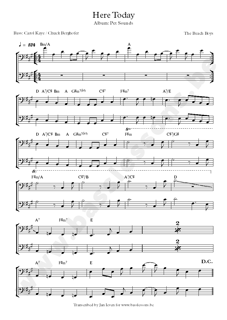 here today bass transcription