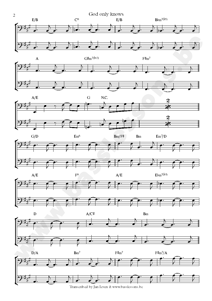 god only knows sheet music