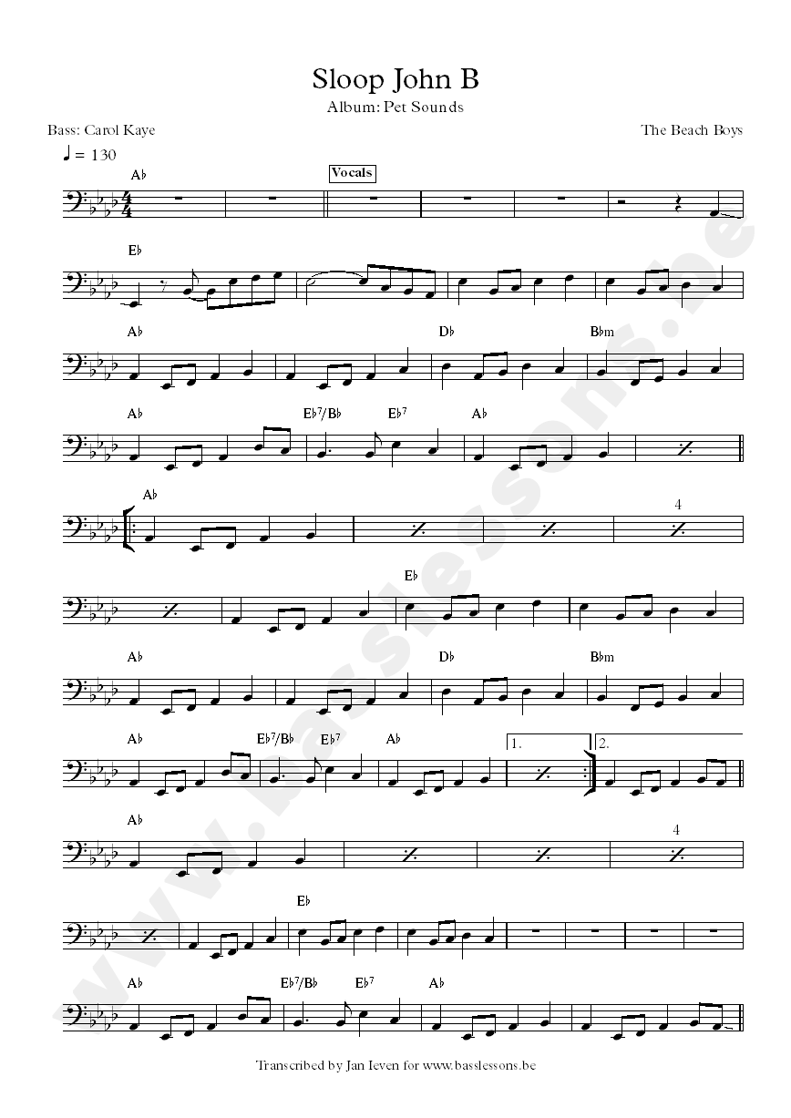 sloop john b bass transcription