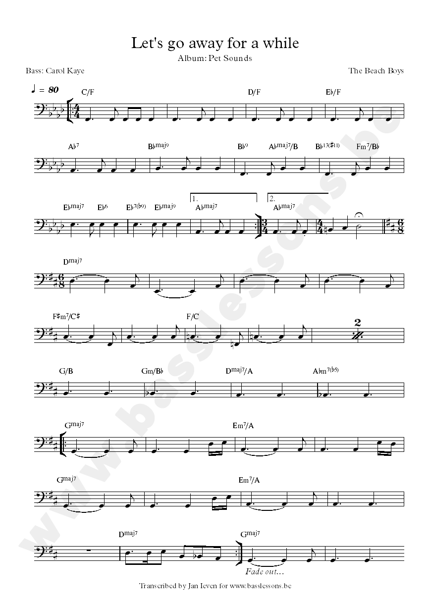 lets go away for a while bass transcription