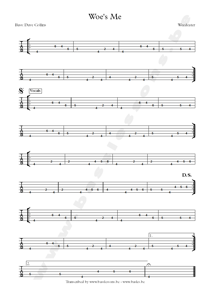 weedeater woes me 5-string bass tab