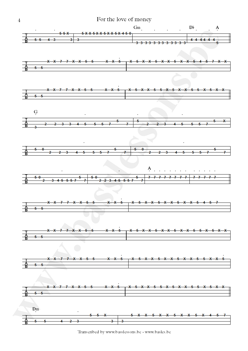 The ojays for the love of money bass tab part 4