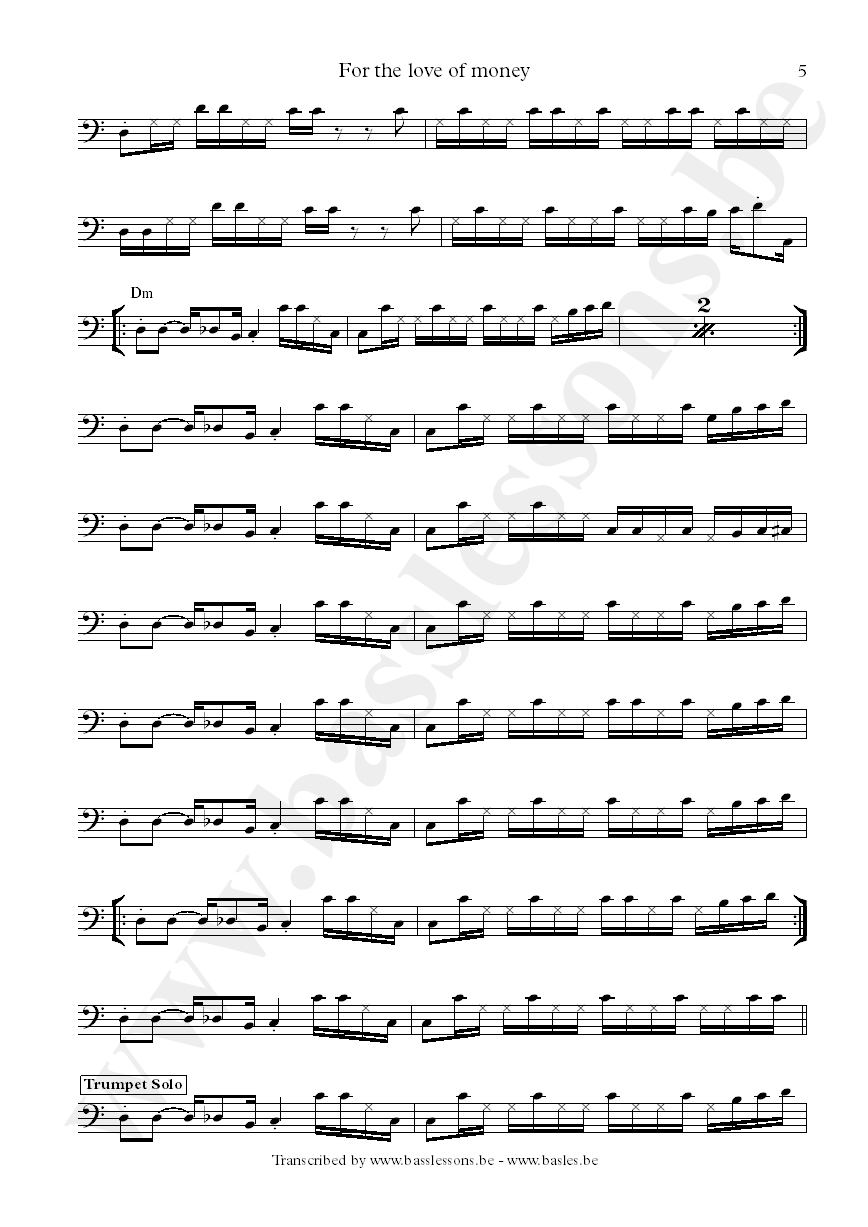 The ojays for the love of money bass transcription part 5