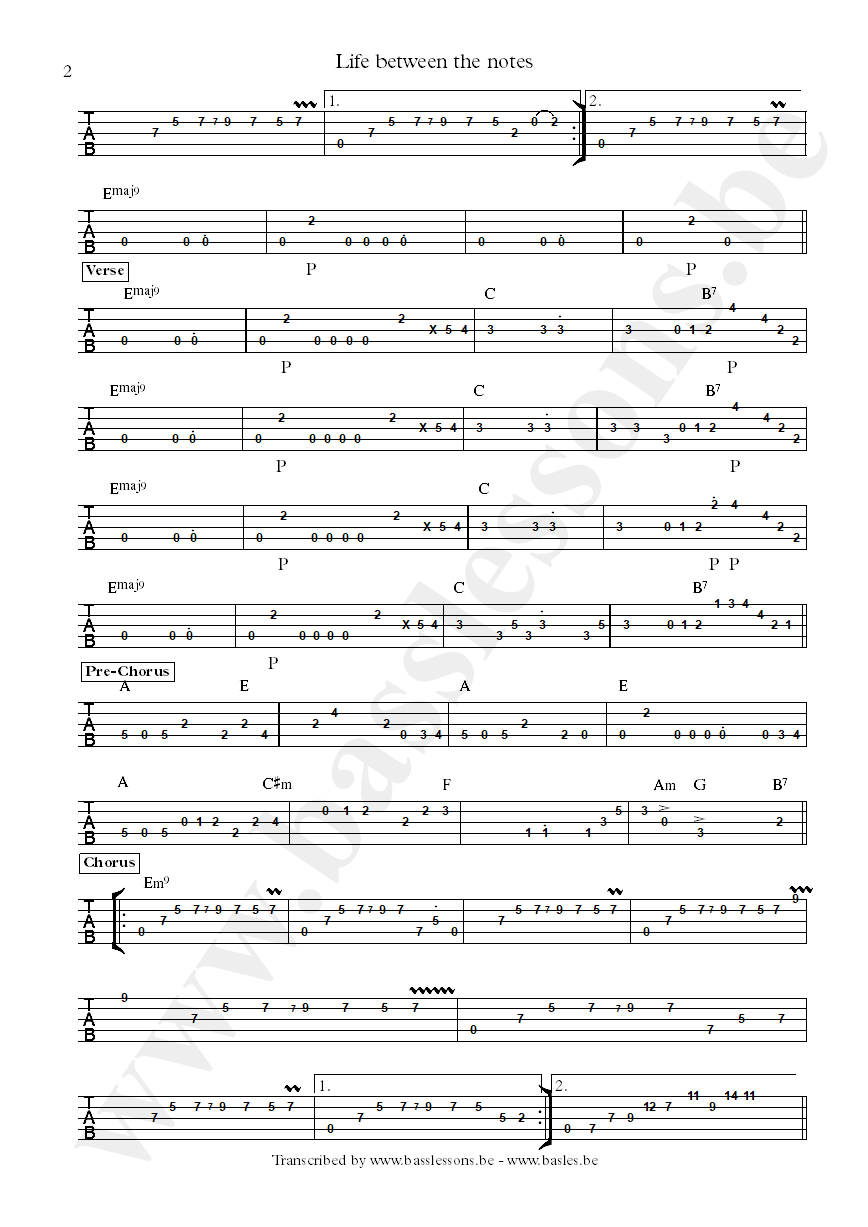 Bluey life between the notes bass tab part 2