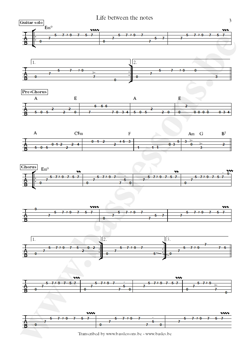 Bluey life between the notes bass tab part 3
