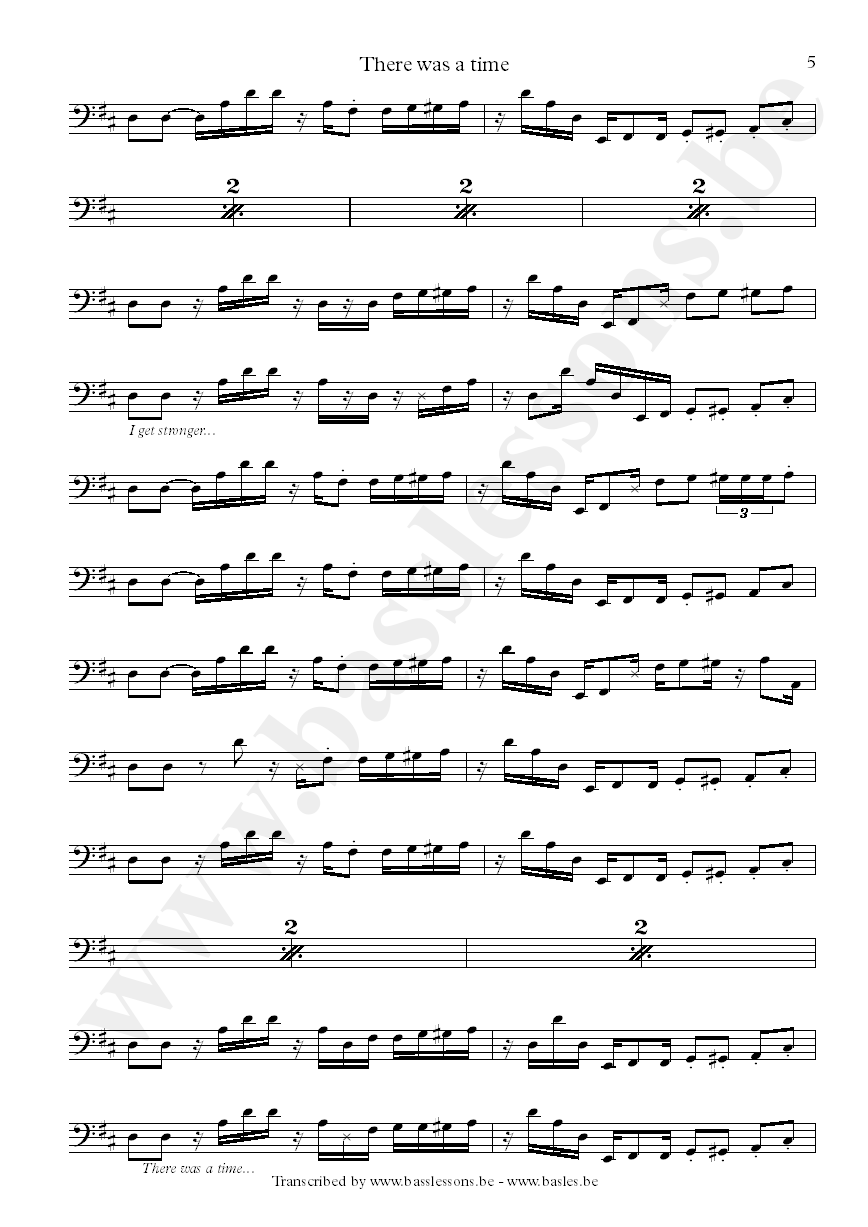James brown there was a time bass transcription part 5
