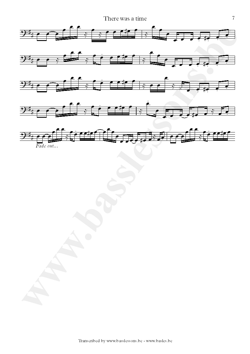 James brown there was a time bass transcription Part 7