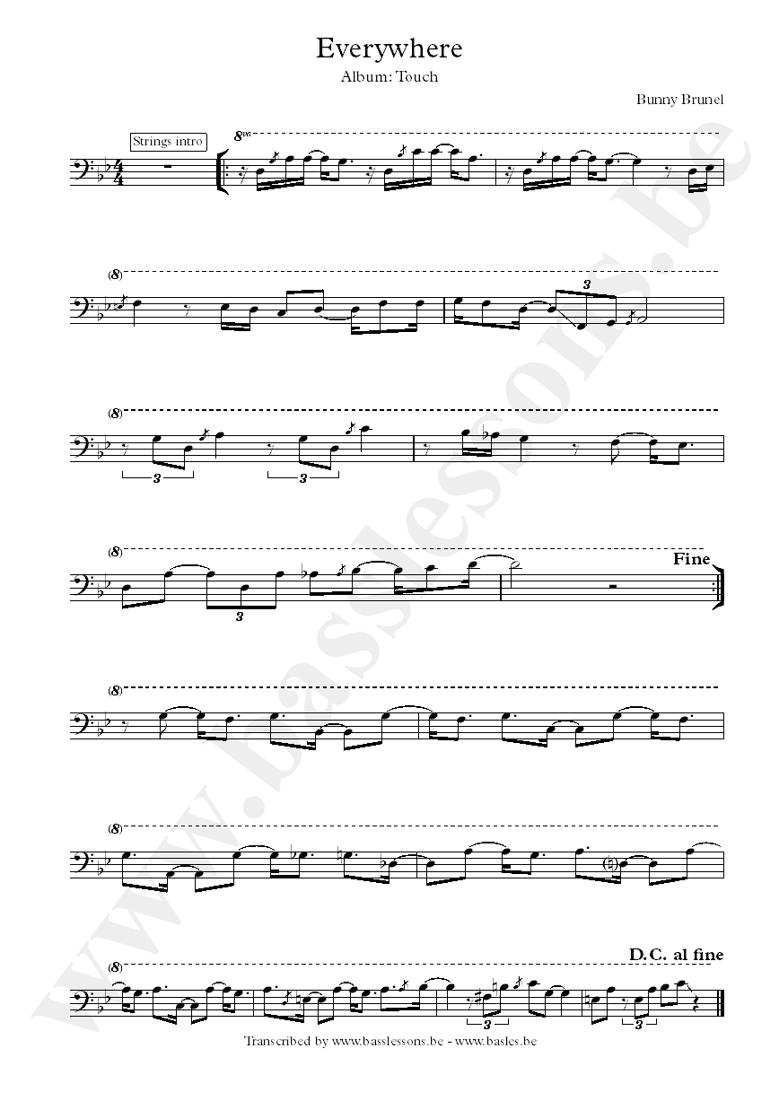 Bunny Brunel everywhere bass transcription transposed