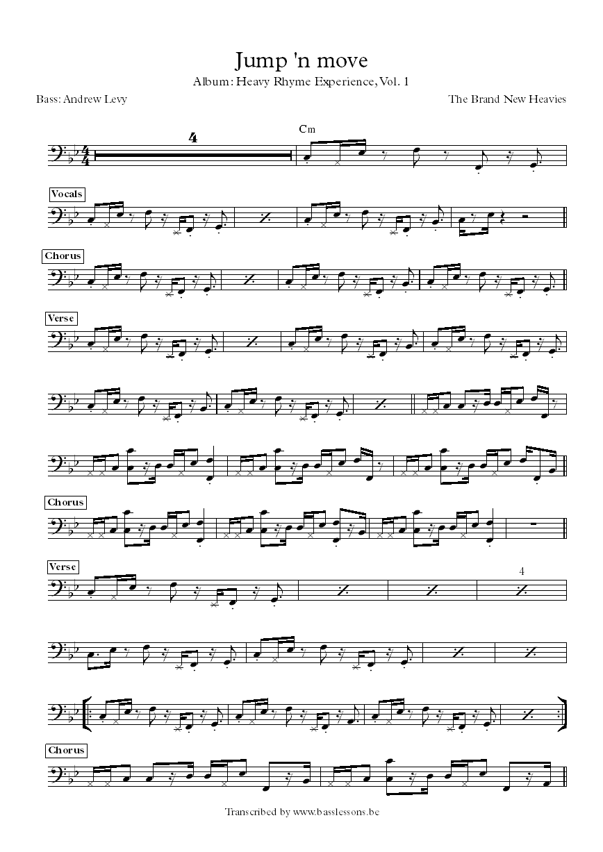 the brand new heavies jump and move bass transcription