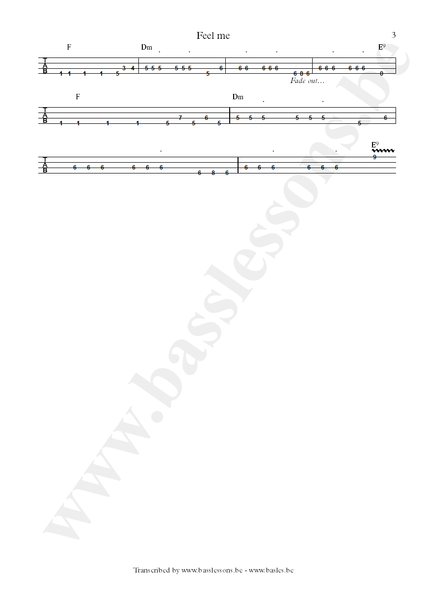 Cameo feel me bass tab part 3
