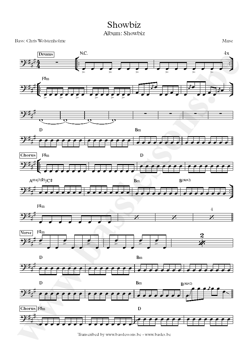 Muse showbiz bass transcription