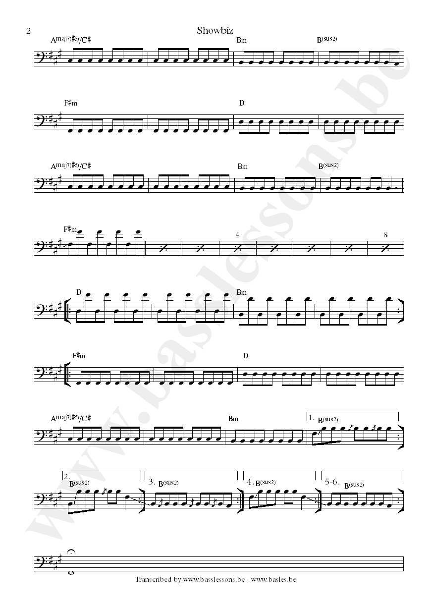 Muse showbiz bass transcription part 2