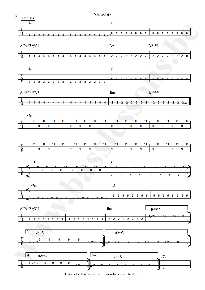 Muse showbiz bass tab part 2
