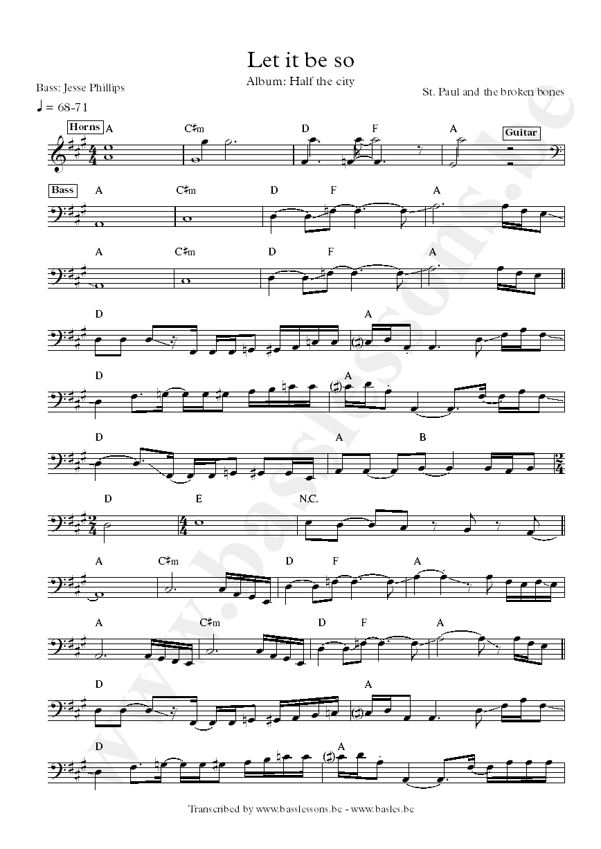 st paul let it be so bass transcription